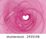 Valentines heart shape, saturated pink swirl over white - stock photo