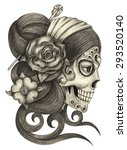 skull art day of the dead. hand ... | Shutterstock . vector #293520140