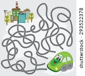 funny maze game   help the car... | Shutterstock .eps vector #293522378