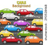 multicolored cars on road.... | Shutterstock .eps vector #293528468