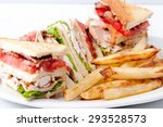 clubhouse sandwich on organic... | Shutterstock . vector #293528573