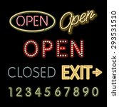 open neon sign closed exit... | Shutterstock .eps vector #293531510