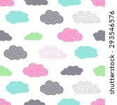 Stock vector colorful seamless pattern with clouds for kids holidays cute baby shower vector background child 293546576