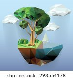 vector low poly island summer...