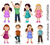 cute children cartoon collection | Shutterstock .eps vector #293568506