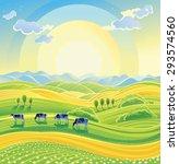 sunny summer landscape and herd ...   Shutterstock .eps vector #293574560