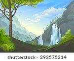 waterfall in mountain range | Shutterstock .eps vector #293575214