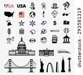 america icons set. illustration ... | Shutterstock .eps vector #293581319