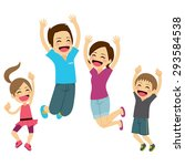 cute happy family jumping... | Shutterstock .eps vector #293584538