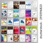 vector set of art flyers... | Shutterstock .eps vector #293596823