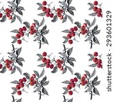 watercolor garden rowan plant... | Shutterstock .eps vector #293601329