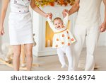 young baby girl with pumpkins   Shutterstock . vector #293616974