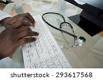 close up of male doctor hands... | Shutterstock . vector #293617568