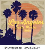 los angeles sunset and palm... | Shutterstock .eps vector #293625194
