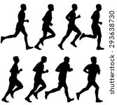 set of silhouettes. runners on... | Shutterstock .eps vector #293638730