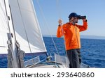 man sailing with sails out on a ... | Shutterstock . vector #293640860