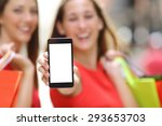 two joyful shoppers with... | Shutterstock . vector #293653703