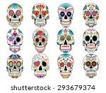colorful sugar skulls | Shutterstock .eps vector #293679374