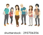 group of smiling teenage... | Shutterstock .eps vector #293706356