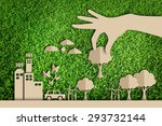 paper cut of green city... | Shutterstock . vector #293732144