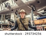 man on airplanes exhibition. | Shutterstock . vector #293734256