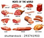 different kind of meats in the... | Shutterstock .eps vector #293741903