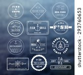 set of seafood logos on sea... | Shutterstock .eps vector #293760653