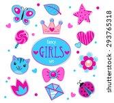 cute girlish vector set  fancy... | Shutterstock .eps vector #293765318