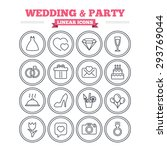 wedding and party linear icons... | Shutterstock .eps vector #293769044