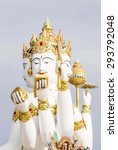 Small photo of Brahma statue In the temple Chachoengsao in Thailand.