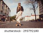 beautiful blonde girl in... | Shutterstock . vector #293792180