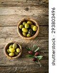 Olives On Old Wood. Wooden...