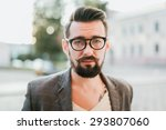 young guy with a beard and... | Shutterstock . vector #293807060
