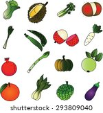 fruits  and vegetable  icon set ... | Shutterstock . vector #293809040
