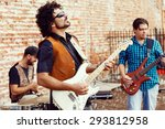 band of musicians playing in... | Shutterstock . vector #293812958
