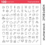 one hundred thin line food and... | Shutterstock .eps vector #293816804