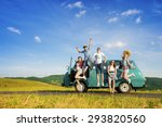 Young hipster friends on road trip on a summers day - stock photo