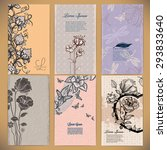 set of vintage cards with... | Shutterstock .eps vector #293833640