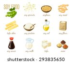 set of cartoon soy food   milk  ... | Shutterstock .eps vector #293835650