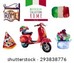 watercolor italy rome  set.... | Shutterstock .eps vector #293838776