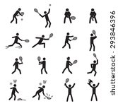 tennis postures male icon set | Shutterstock .eps vector #293846396