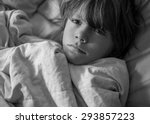 young sad   boy  child laying...   Shutterstock . vector #293857223