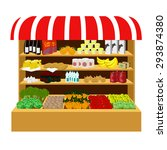 the food on the store shelves.... | Shutterstock .eps vector #293874380