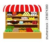 the food on the store shelves.... | Shutterstock .eps vector #293874380