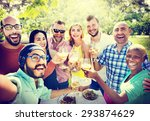 diverse people luncheon... | Shutterstock . vector #293874629