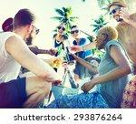 friends summer beach party... | Shutterstock . vector #293876264