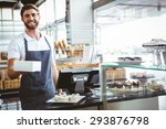 smiling worker prepares orders... | Shutterstock . vector #293876798