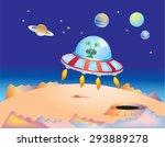 a cartoon flying saucer landing ... | Shutterstock .eps vector #293889278