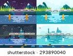 wagons bridge over river... | Shutterstock .eps vector #293890040
