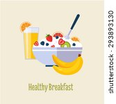healthy breakfast concepts... | Shutterstock .eps vector #293893130